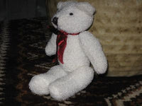 Azure Miniature Teddy Bear 5 Inch White Red Bow UK