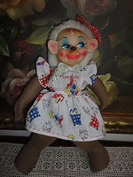 Rubber Face Character Monkey Doll Nylon Body Barbados Dress 15in Vintage Antique