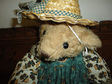"Antique Humpback Bear Sunflower Cotton Dress Handmade Straw Hat 16"" Suede Paws"