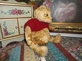 Antique Europe Winnie the Pooh Bear Humpback Silk Plush Suede Paws Jointed 12in.