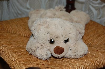 Toys Amsterdam NL Soft Laying Plush Bear Beige White 12 Inch