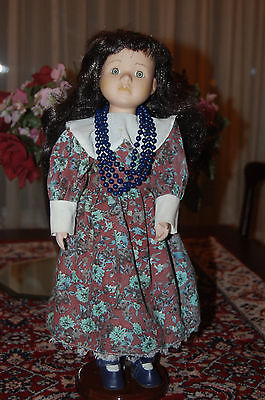 Vintage Germany Vtg Porcelain Doll Flower Dress Bead Necklace 40 CM