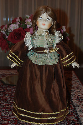 Vintage Vtg Porcelain Doll Dark Brown Velvet Dress & Velvet Socks