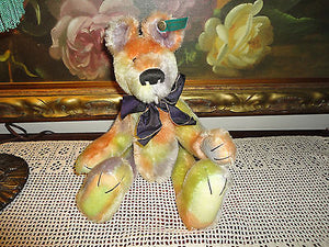 Effanbee Bear Essentials 100% Mohair Rainbow Bear Fully Jointed 14in. Button/Tag
