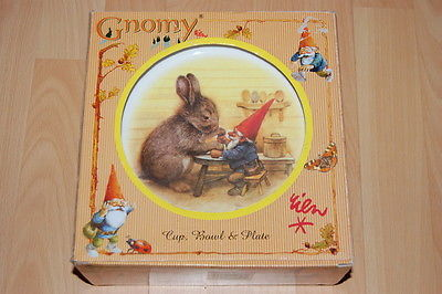 Rien Poortvliet Gnomy Childrens Dinner Set David The Gnome Cup Bowl Plate NEW