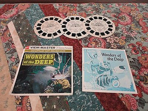 VTG 1954 View Master World of Science WONDERS OF THE DEEP 3 Reels with Case