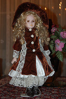 Germany Porcelain Doll Copper Brown Velvet Dress 40 CM