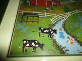 Folk Artist Linda Nelson Stocks 1983 Farm Picture Framed 17 x 14.5 inch