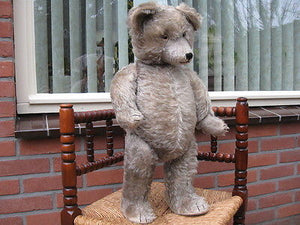 Antique 1930s Diem Germany Humpback Gray Mohair Bear w Growler JUMBO 2 ft 61 CM