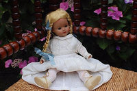 Antique Germany Blonde Girl Doll with Braids Christening Gown 2 pair shoes