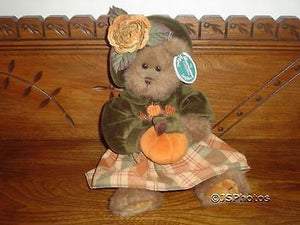 Bearington Autumn Harvest Girl Teddy Bear 14 Inch 1079 Velvet Pumpkin Dress