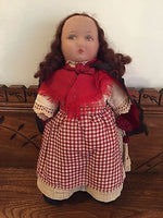 Antique 1920s Felt Doll 16 inch Painted Face Original Clothing Knitting Needles