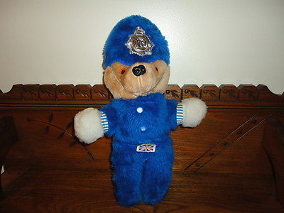 "Antique Police Bear Sweet Dreams West Sussex UK 16"" Blue Fur"