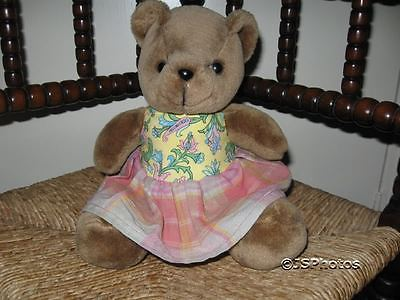 Vintage Little Girl Brown Teddy Bear Holland 1970s Velvety Soft Rare 9 inch