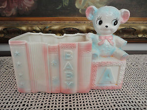 Vintage 1950s Japan RELPO Baby Blocks Books Bear Planter Number 5853