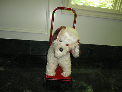 Antique Silk Plush Stuffed Terrier Dog on Wheels Metal Push Toy 18 inch