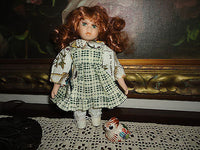 Little Porcelain Doll & Painted Bunny ADORABLE ! 8 inch Green Eyes Long Red Hair