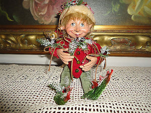 Bombay Company Smiling ELF DOLL Red Ornament Poseable Figure 11 inch  RETIRED