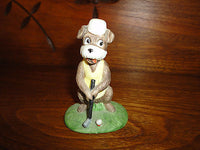 Vintage Betty Utley 1975 Terrier Dog Golfing Golf Figurine Bisque Porcelain