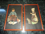 Dutch Artist Jan Wijga Set of 2 Antique Art Prints Girl with Cat & Boy w Duck