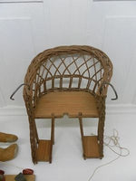 Antique Wicker Wooden Doll Bicycle Chair For Childrens Girl Bike