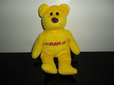 DHL Logo Yellow Teddy Bear Collectible Plush Toy 8 inch