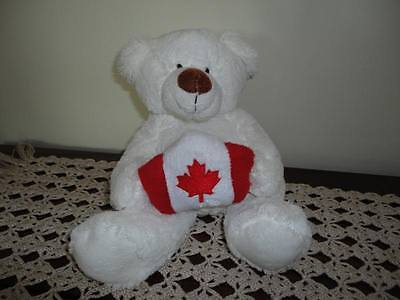 White Teddy Bear Plush Holding Canadian Flag