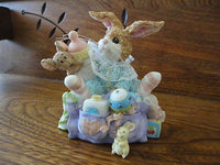 Baby Bunny Rabbit and Mouse in Diaper Bag Porcelain Figurine Hand painted
