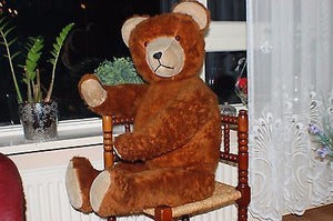 Antique 40s Hermann Germany Brown Bear XXL JUMBO 40 inch 102cm Silk Plush Mohair