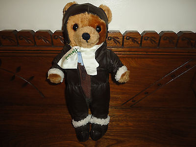"Harrods Aviator Pilot Teddy Bear Vinyl Flight Suit 12"" Retired London UK Vintage"