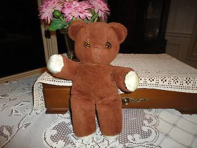 Antique KNICKERBOCKER Teddy Kuddles Brown Bear Yellow Eyes 11 Inch 1950s