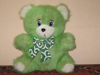 Vintage Nicky Toy Holland Green Furry Plush Sitting Teddy Bear