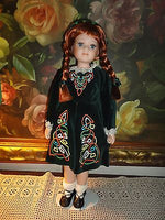 CELTIC Ireland Porcelain DOLL Redhead Velvet Satin Costume Dress 17in. Stand