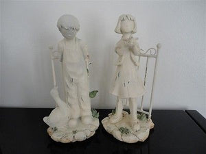 Distressed Painted Boy and Girl Statues Set RARE Wood & Metal 8 inch