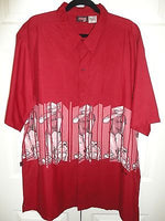 Mens XL Short Sleeve Shirt JGCO Hip Hop Rapper on Mic with Bulldog Wine Red NEW