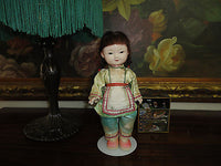 Antique Japan Asian Chinese Celluloid Doll Original Silk Outfit Hand Painted