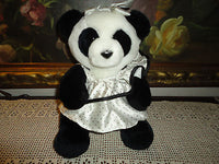 Vintage 1987 DAKIN Panda Girl Bear with Satin Dress 10 inch