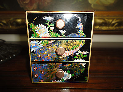 Made in Japan Vintage Black Lacquer Style Peacock 3 Drawer Chest Hand Painted