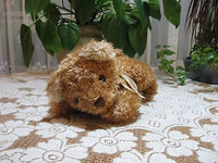 Anna Club Plush Holland Brown Soft Laying Teddy Bear Yellow Bow 11 Inch