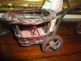 Antique Tricycle with Basket Carrier Wood Wheels Metal Wicker 13 x 7 inch