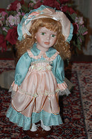 Italy Porcelain Doll Le Damine Green Salmon Silk Dress 41 CM NEW in Box