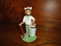 Vintage Bear Bisque Porcelain Golf Figurine Ornament Hand Painted Taiwan Japan