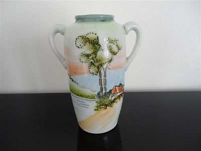 Antique Japanese Vase Urn Hand Painted Scene 5 Inch Jadees Antique