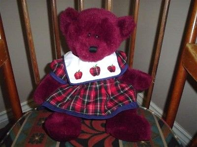 Ganz Teddy Bear Burgundy Plush Bear City Dress The Heritage Collection 15 Inch