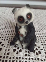 PANDA Mother Holding Baby Resin Carved Statue Figurine Glass Eyes 3