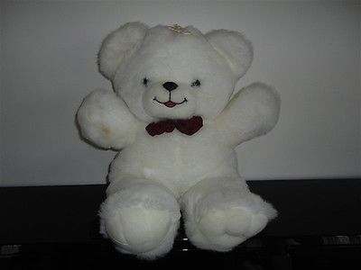 "Vintage Large White Teddy Bear Plush with Bowtie 20"" Best Made Toys Toronto"