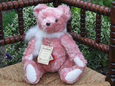 Hermann Sweet Rose Pink Distressed Mohair Lady Bear Ltd 2778 of 4000 14in. 1990