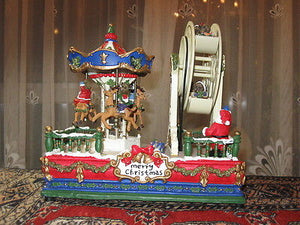 Christmas Carousel and Ferris Wheel Music Box Jingle Bells Windup Movement