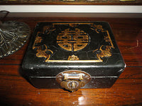 ANTIQUE 19th Cent. CHINESE Mahogany LEATHER Box BRASS CLOSURE Double Happiness