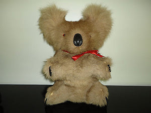 Antique Koala Real Fur Glass Eyes Stuffed Figure 12 inch